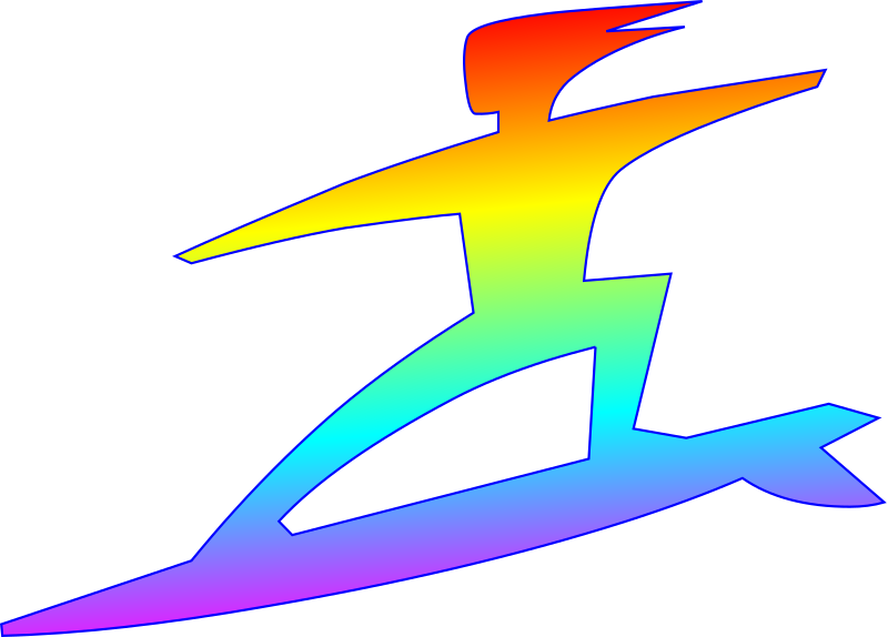 surfer with rainbow gradient