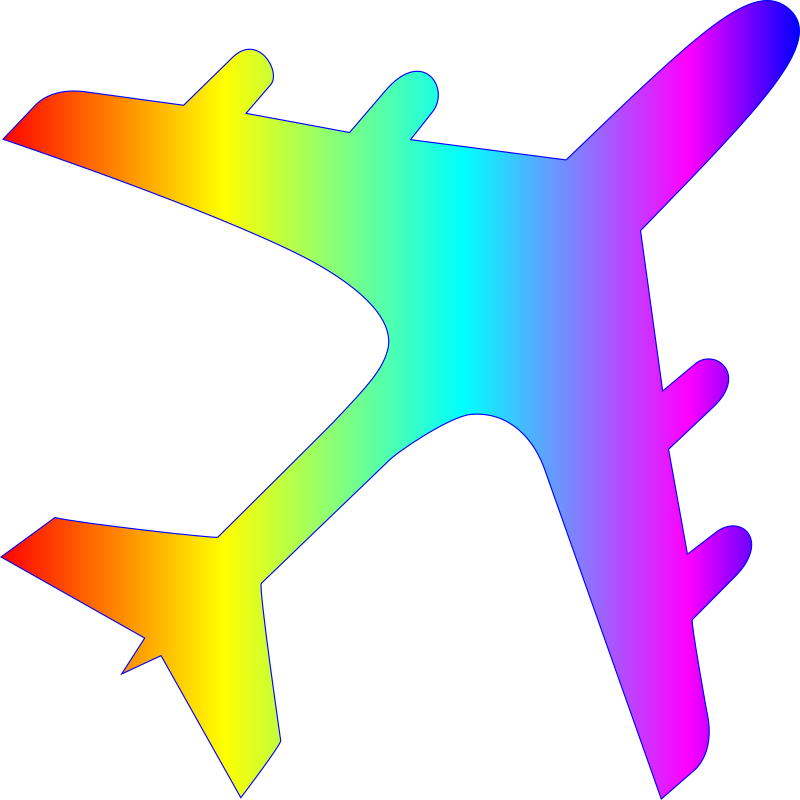 Airplane silhoutte with rainbow gradient
