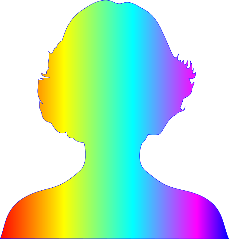 female silhouette with rainbow gradient