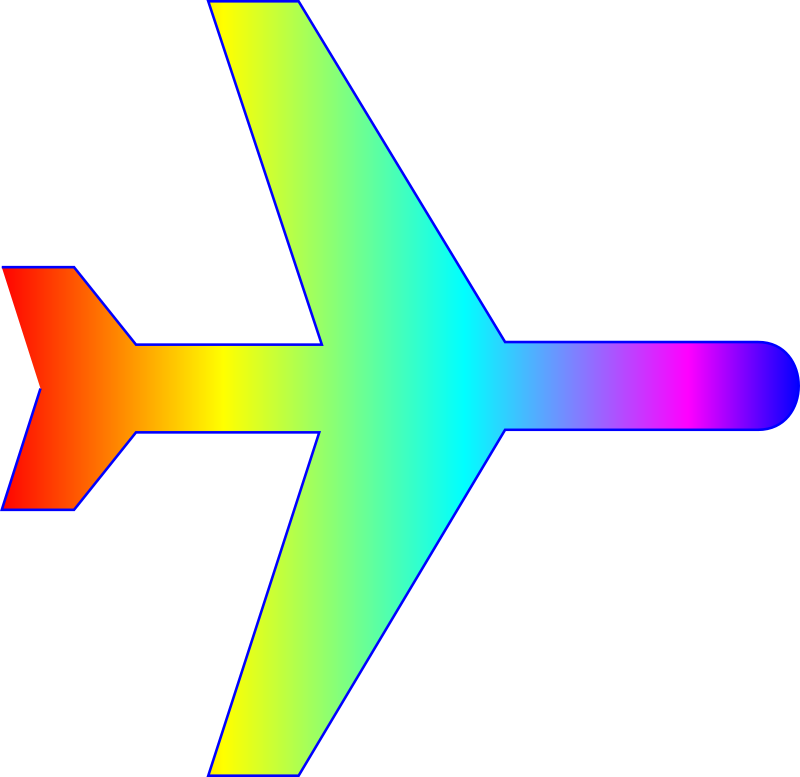 Airplane silhouette with rainbow gradient
