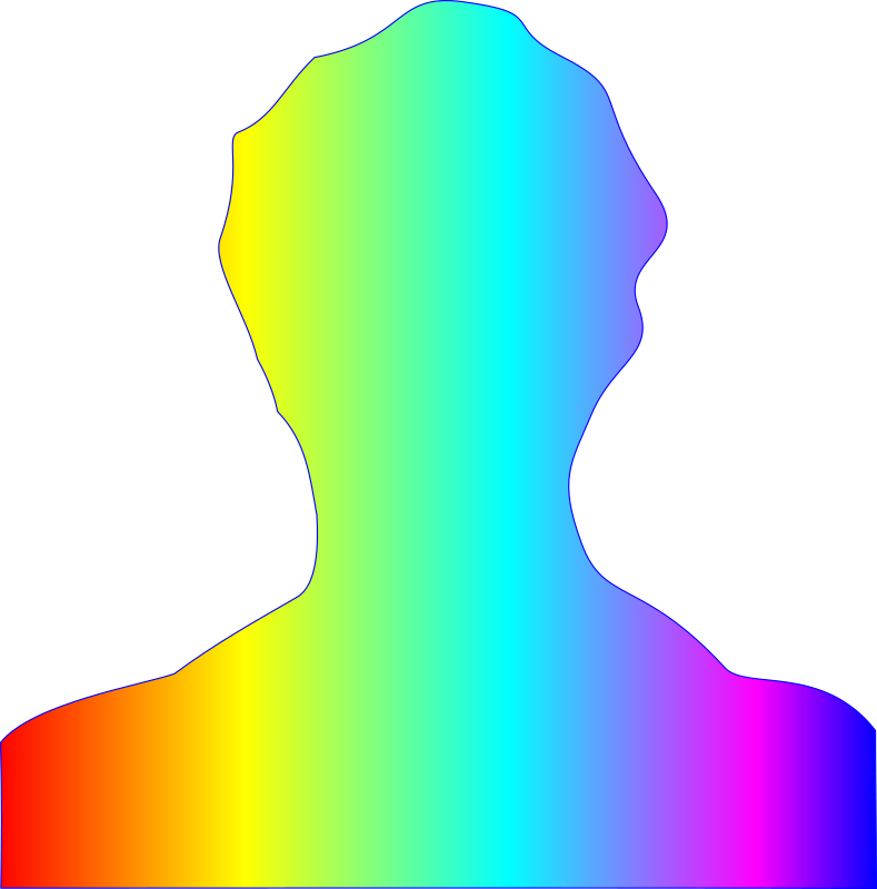 male silhouette with rainbow gradient