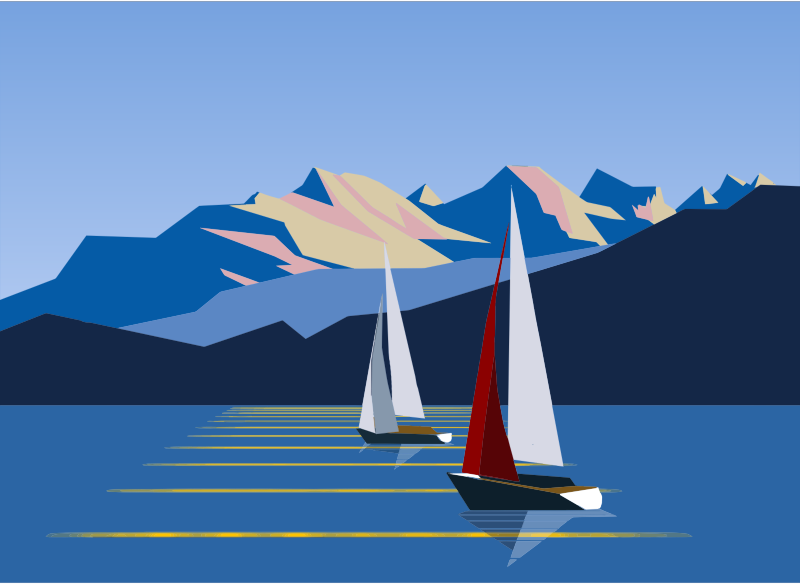 Polygonal Sailboats And Mountains