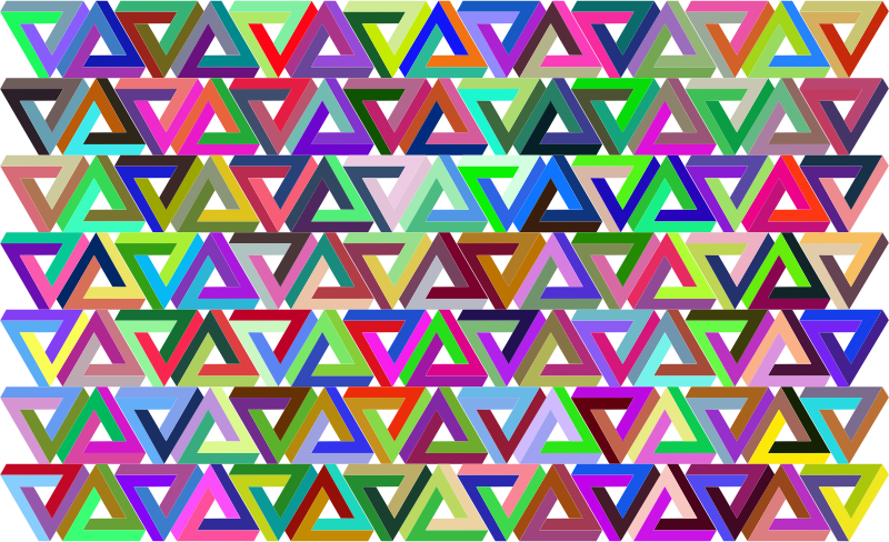 Prismatic Penrose Triangle Pattern
