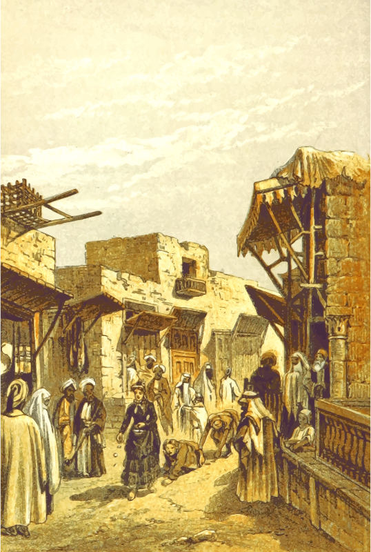 Middle Eastern scene - Pilgramage in Jerusalem