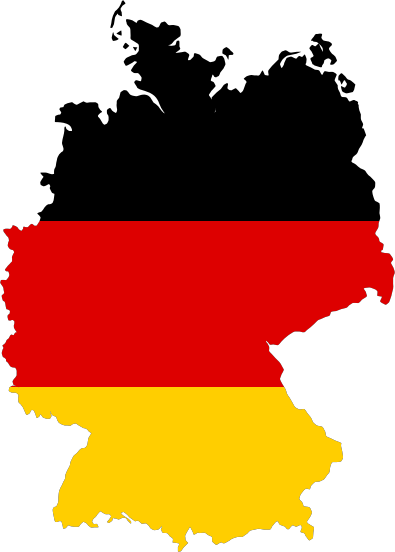Remix of German map with flag colors