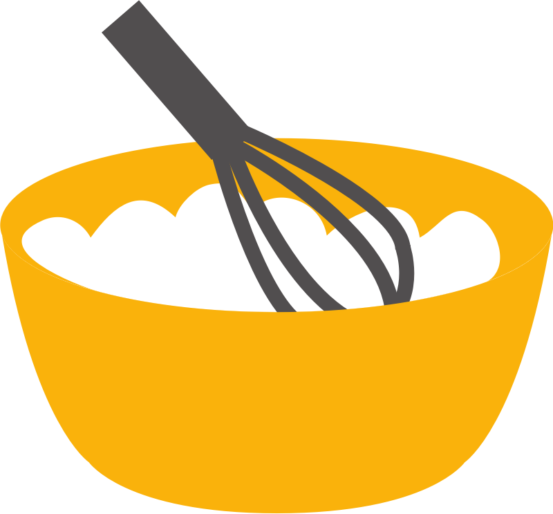 Baking whisk and bowl
