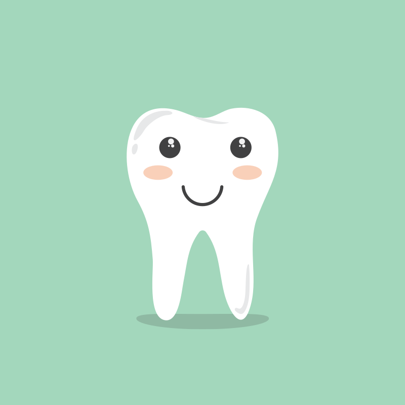 Cute anthropomorphic smiling tooth