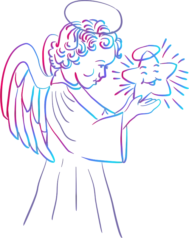 Angel with star (colour)
