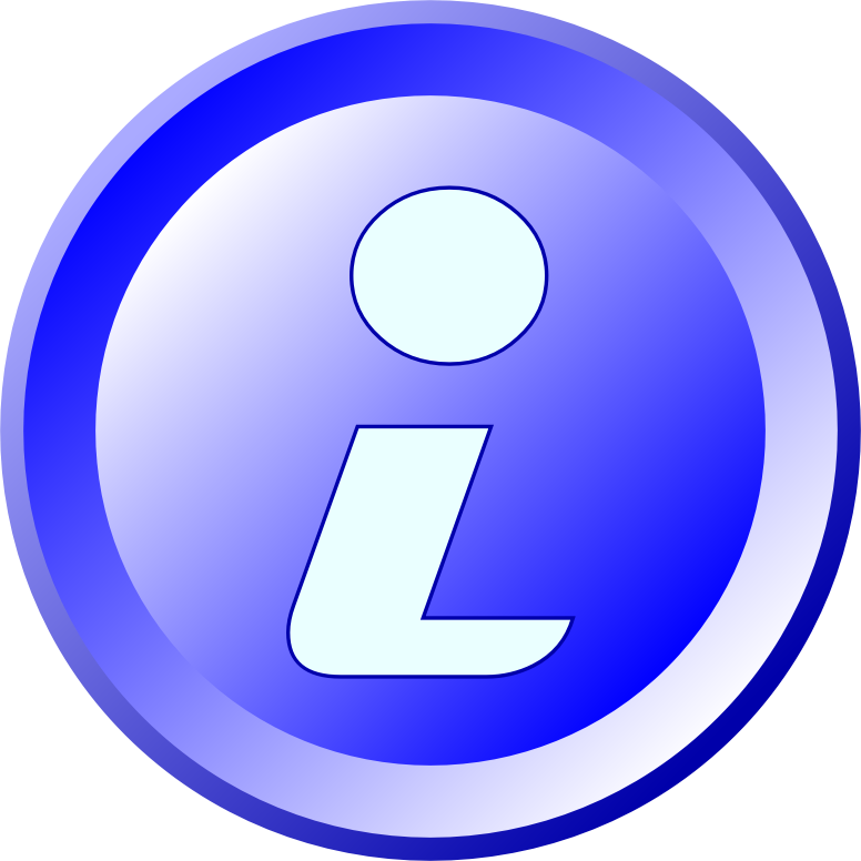 Blue round information-icon with pseudo 3D-Effect