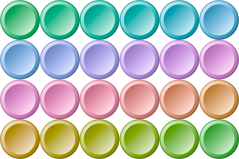 24 colorful buttons inverse gradient