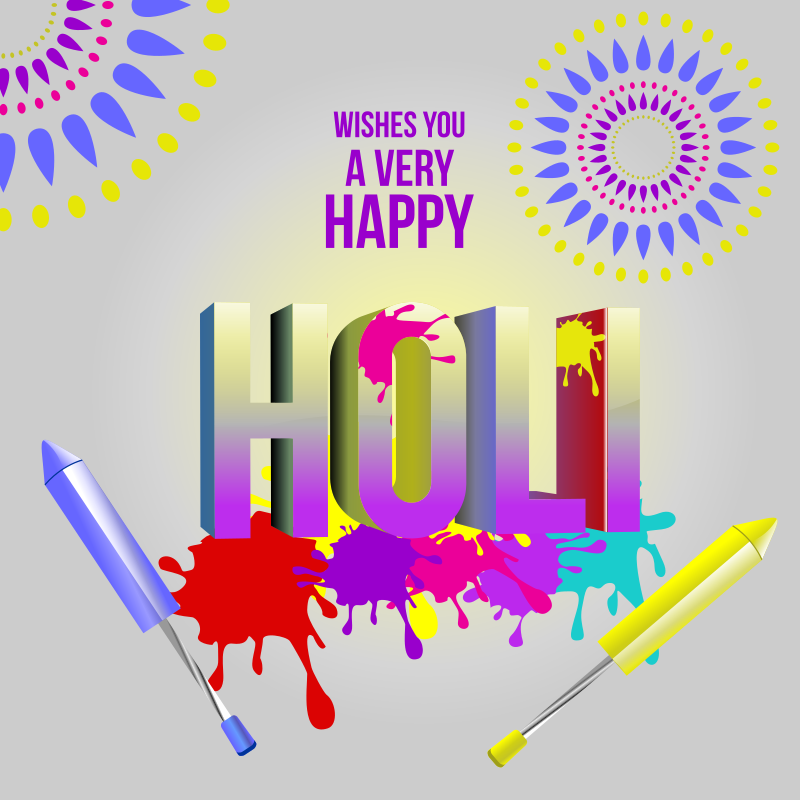 Holi Greeting with Colours