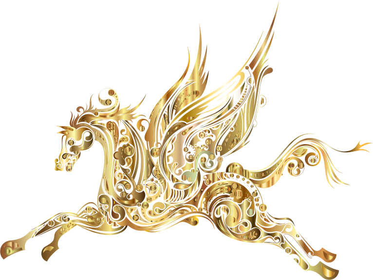 Abstract Winged Horse Gold
