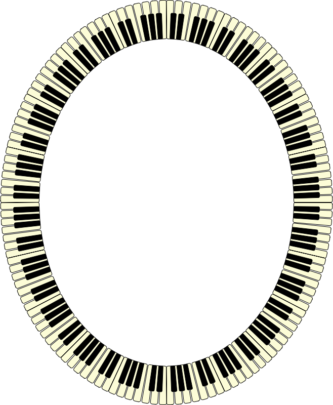 Piano keys frame (ellipse, inverted)