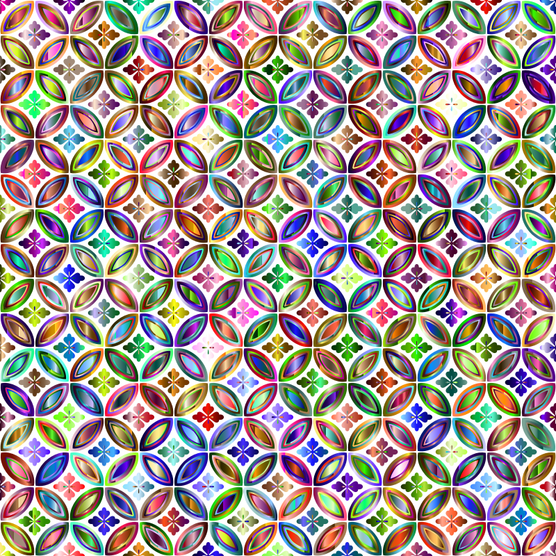 Prismatic Floral Design Pattern 4 No Background