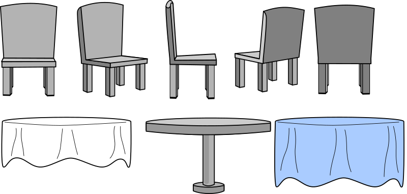 Kitchen Table and Chairs with Table Cloth