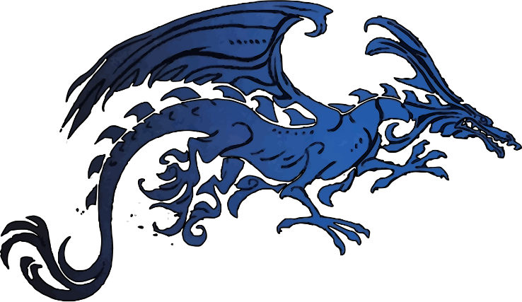 Fierce Black and Blue Tribal Dragon