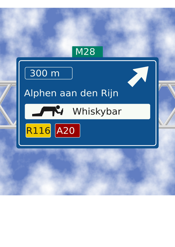 Whisky bar road sign