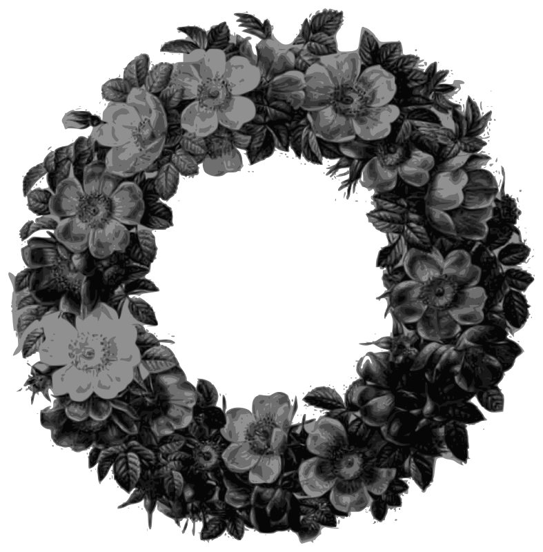 Redoute - Rose wreath - grayscale