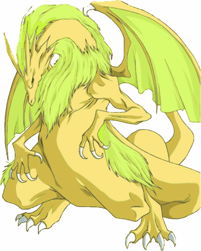 Gold and Green Cartoon Dragon