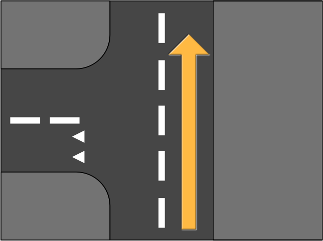 Road Splitting Left Straight Ahead