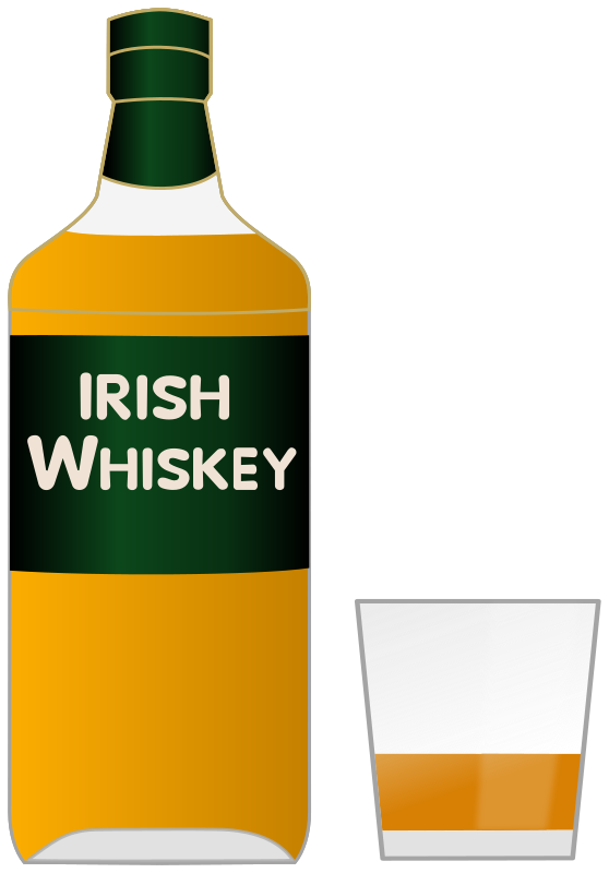 Bottle of Irish whiskey and a glass