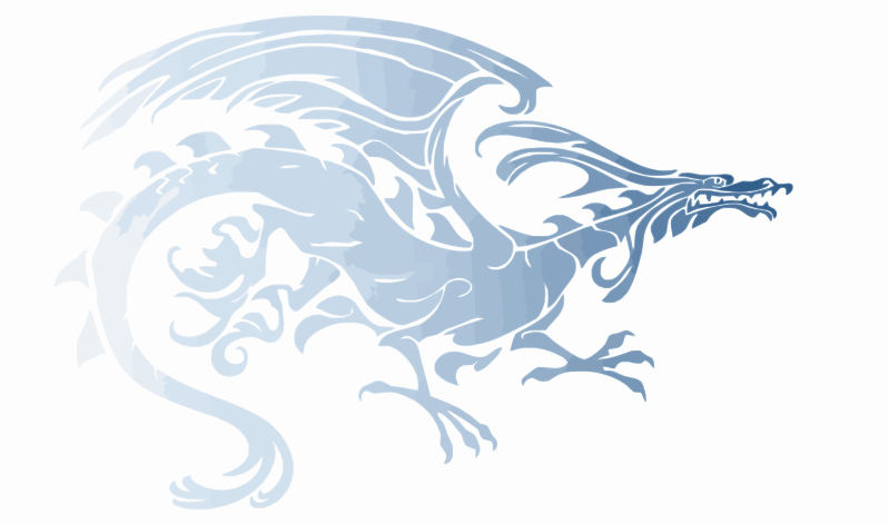 Light Blue Upright Tribal Dragon