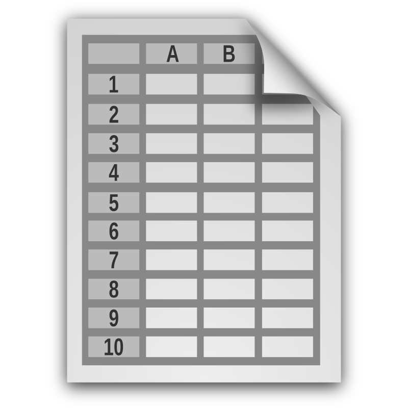 Spreadsheet Document Icon with no text