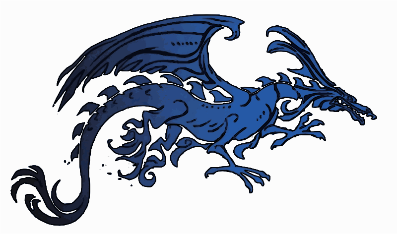 Black Blue Tribal Dragon SVG version