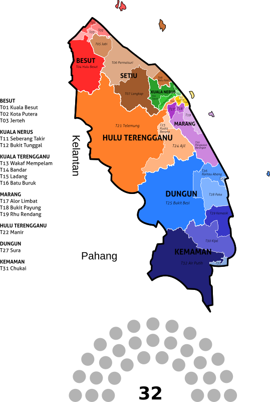 Terengganu State Legislative Assembly Constituencies - 2018