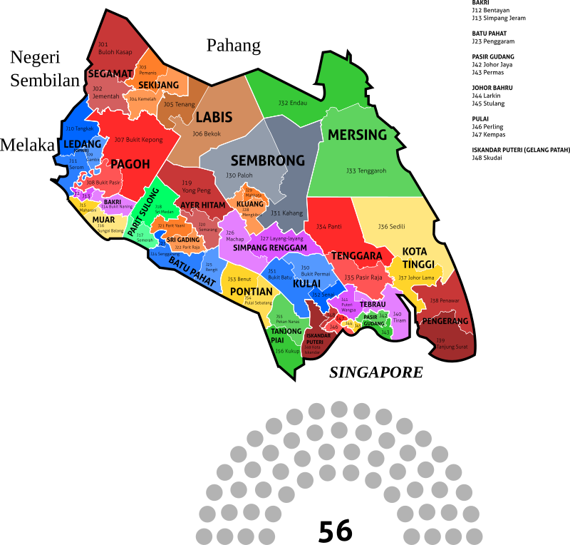 Johor State Legislative Assembly Constituencies - 2018