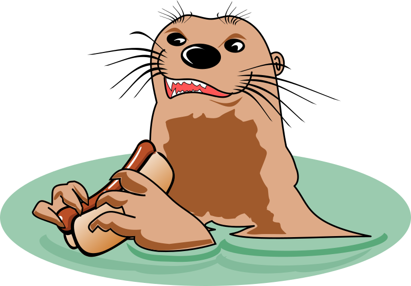 Otter with Hot Dog