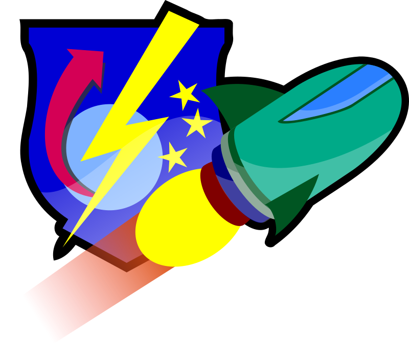 Spaceship and academy insignia