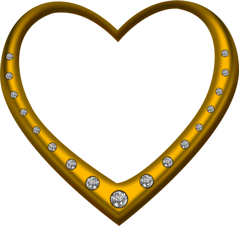 Gold heart studded with diamonds