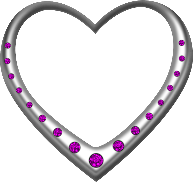 Silver heart studded with amethysts