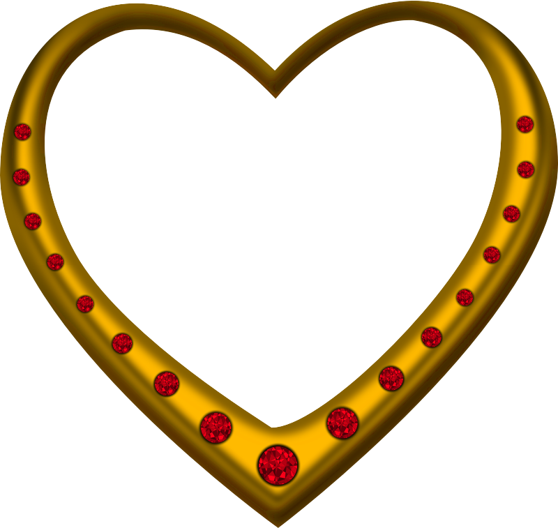 Gold heart studded with rubies