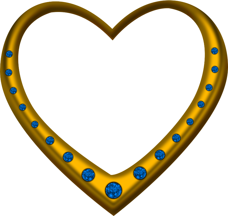 Gold heart studded with sapphires
