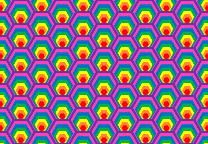 Colourful hexagon pattern