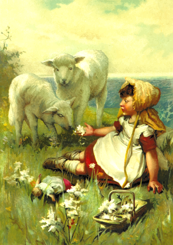 Girl with lambs