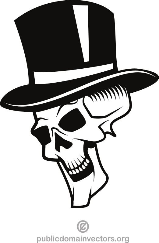 Human skull with a hat