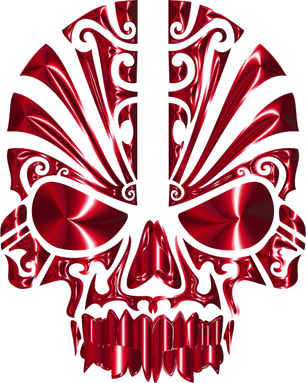 Tribal Skull Silhouette 2 Crimson No BG