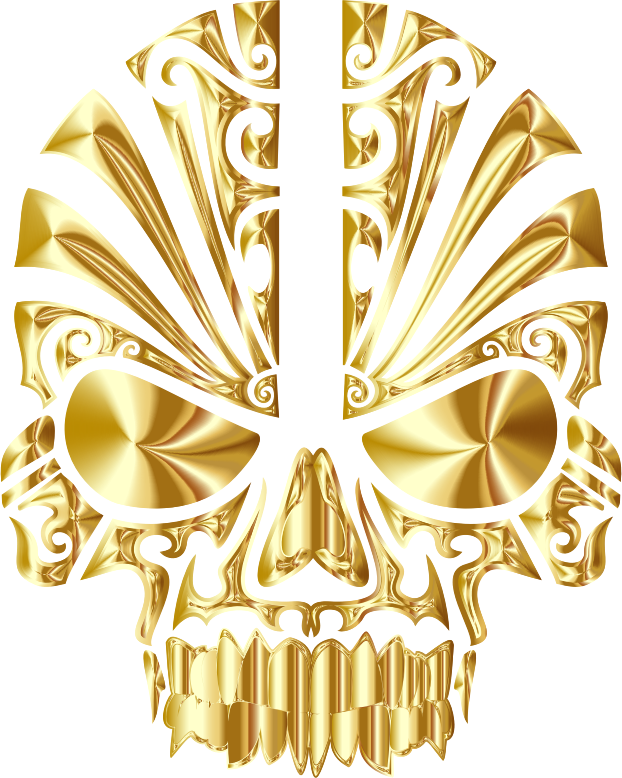 Tribal Skull Silhouette 2 Gold No BG