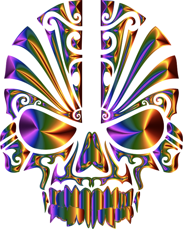 Tribal Skull Silhouette 2 Chromatic No BG