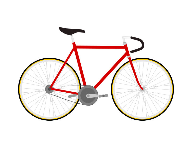 Fixed gear bicycle, flat design