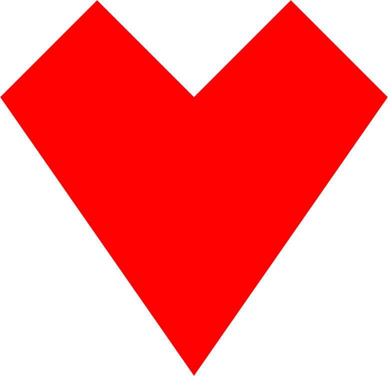 Red Heart Straight Lines 2
