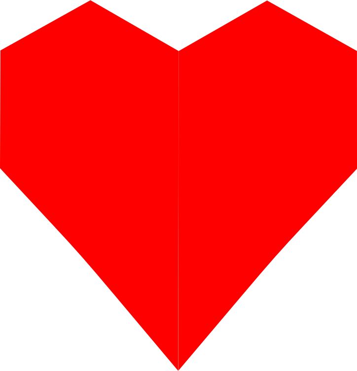 Red Heart Straight Lines 3