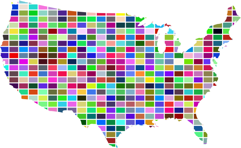 United States Map Grid Design Prismatic