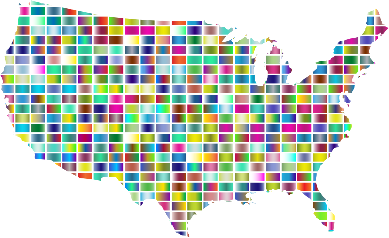 United States Map Grid Design Prismatic 2