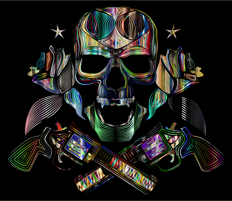 Flowers And Firearms Skull Line Art Psychedelic