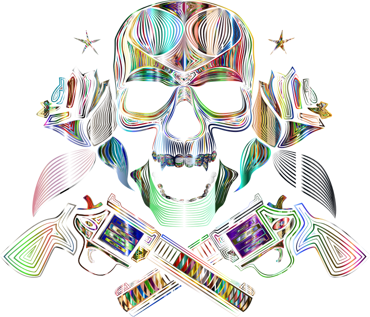 Flowers And Firearms Skull Line Art Psychedelic No BG