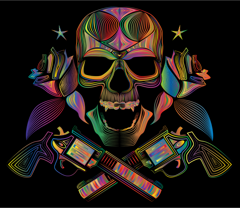 Flowers And Firearms Skull Line Art Polyprismatic